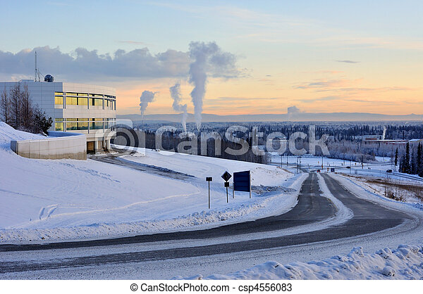 University of Alaska Fairbanks, and the city of Fairbanks in the winter at sunset - csp4556083
