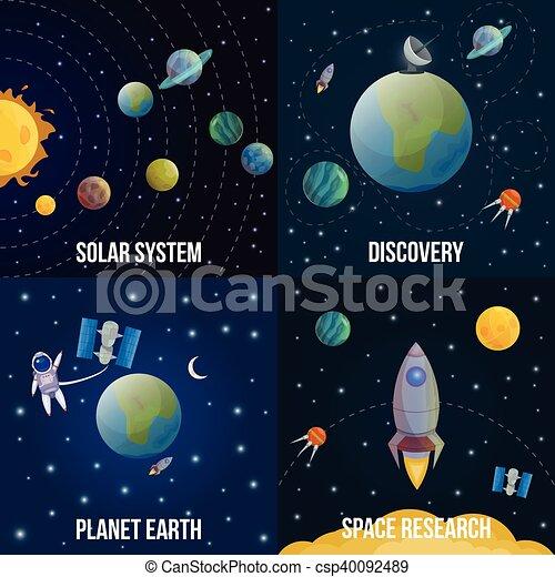 universo, set, spazio, colorato, icona - csp40092489