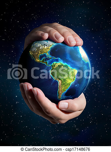 universo, -, terra, mãos - csp17148676