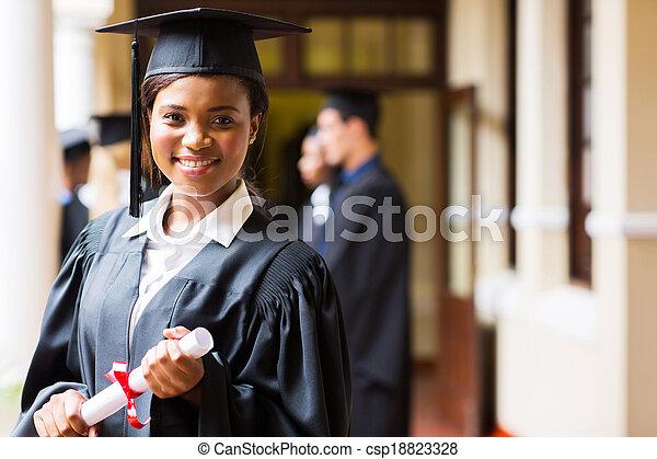 uniwersytet, afrykanin, mądry, absolwent - csp18823328