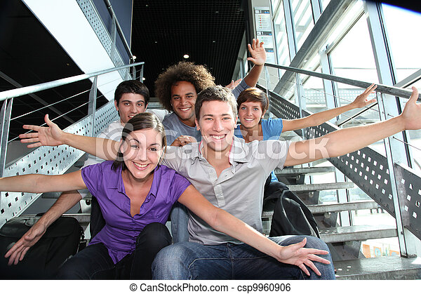 uniwersytet, szczęśliwy, grupa, młodzież - csp9960906