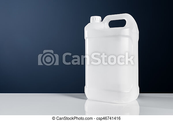 Unlabeled white plastic tank canister chemical liquid container - csp46741416