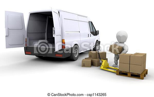 Unloading a van - csp1143265