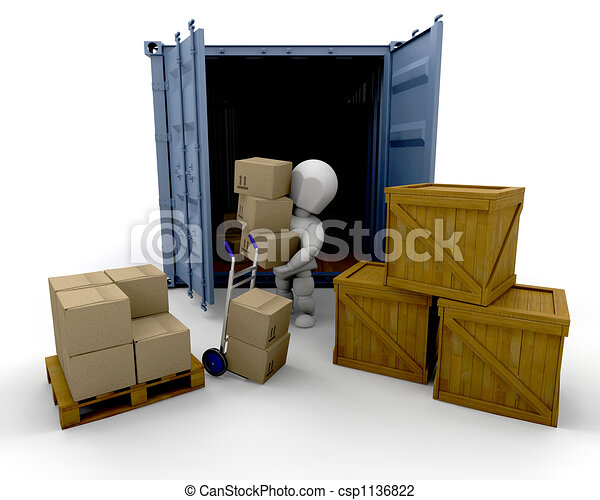 Unloading boxes - csp1136822