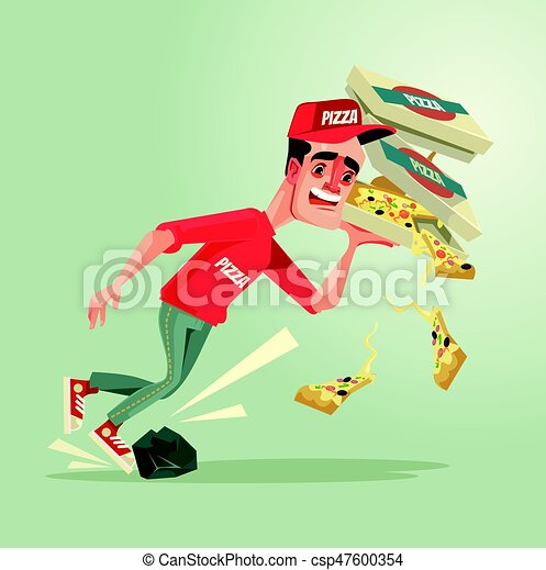 Unlucky courier man character stumble on stone and drops pizza down. Vector flat cartoon illustration - csp47600354