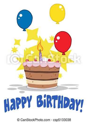 uno, candela compleanno, torta - csp5133038