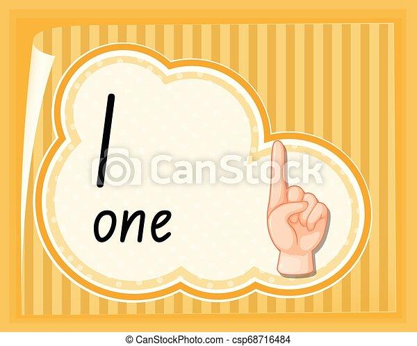 uno, numero, guida, gesto, mano - csp68716484
