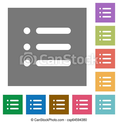 Unordered list square flat icons - csp64594380
