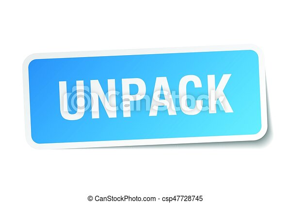 unpack square sticker on white - csp47728745