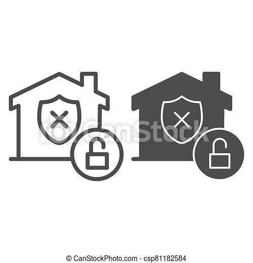 Unprotected building emblem and open lock line and solid icon, smart home symbol, property safety and protection vector sign white background, canceled security shield in house icon outline. Vector. - csp81182584