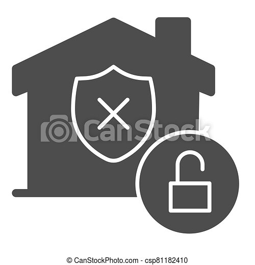 Unprotected building emblem and open lock solid icon, smart home symbol, property safety and protection vector sign white background, canceled security shield in house icon glyph. Vector. - csp81182410