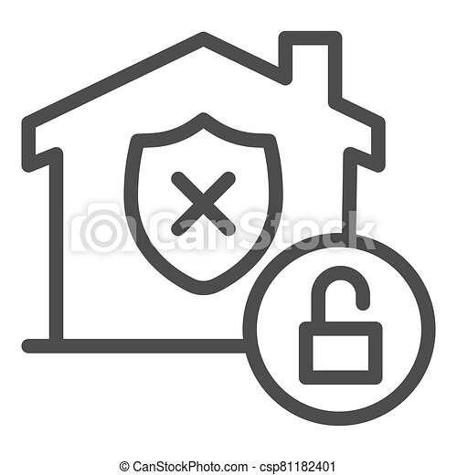 Unprotected building emblem and open lock line icon, smart home symbol, property safety and protection vector sign white background, canceled security shield in house icon outline. Vector. - csp81182401