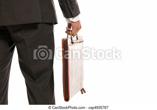 Unrecognizable businessman back with suitcase copy-space isolated on white background - csp4935767