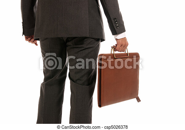 Unrecognizable businessman back with suitcase isolated on white background - csp5026378