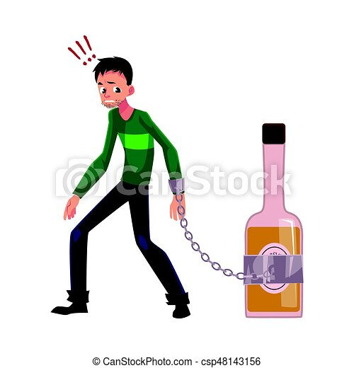 unshaven man with hand chained to liquor bottle alcohol clipart rh canstockphoto com Wine Bottle Clip Art Champagne Bottle Clip Art