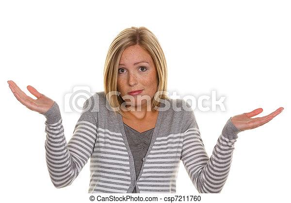 unsuspecting woman shrugs - csp7211760