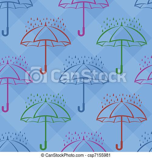 unter, hintergrund, schirm, seamless, regen - csp7155981