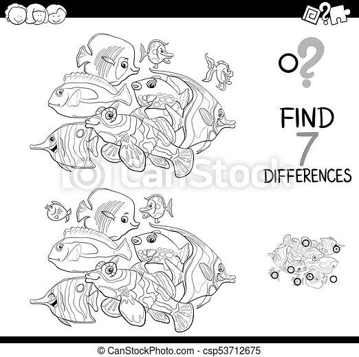 Unterschiede, fische, färbung, tiere, spiel. Sieben,... Vektoren ...
