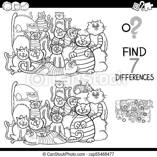 Finden Sie Unterschiede Spiel mit Katzen Farbbuch - csp55468477