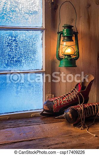unterstand, warm, winter, tag, eisig - csp17409226