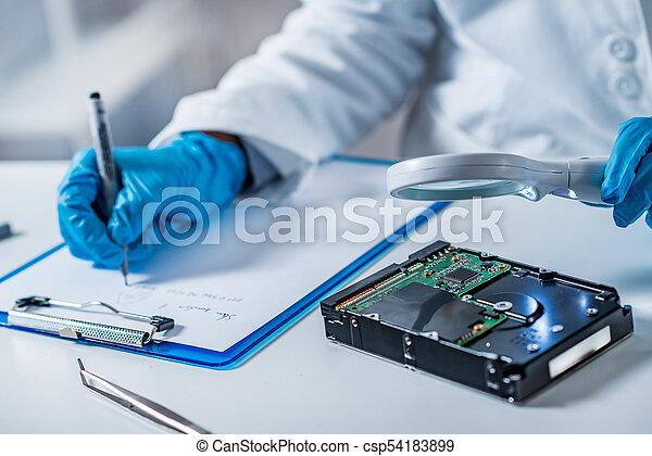 untersuchen, hart, experte, wissenschaft, gerichtlich, fahren - csp54183899