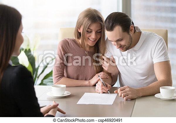 Unterzeichnung, darlehen, familie, nehmen, insu, glücklich ...