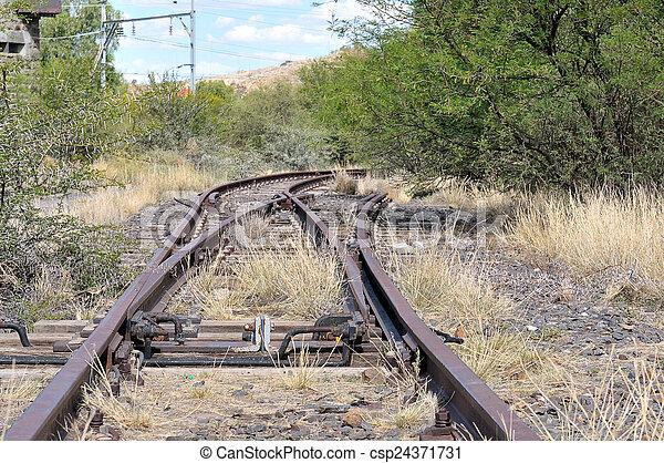 Unused railroad switch - csp24371731