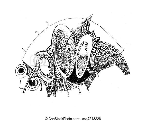 Unusual abstract pencil drawing armadillo csp7348228