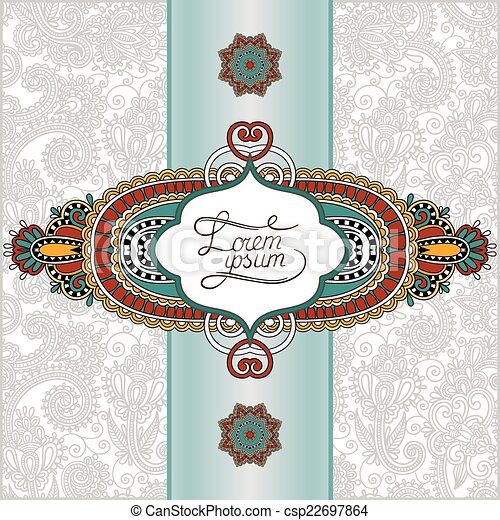 unusual floral ornamental template with place for your text, ori - csp22697864
