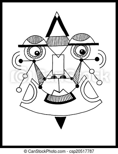 unusual hand draw illustration with a male face portrait in flat - csp20517787