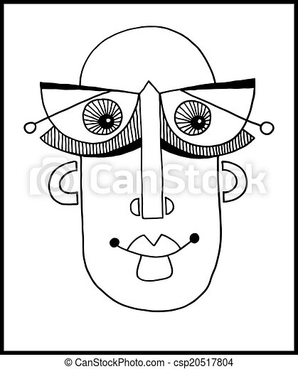 unusual hand draw illustration with a male face portrait in flat - csp20517804