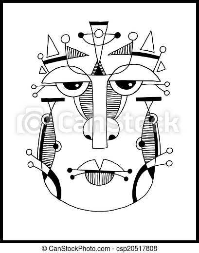 unusual hand draw illustration with a male face portrait in flat - csp20517808