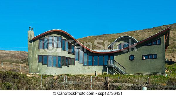 Can Stock Photo & unusual modern house on coast