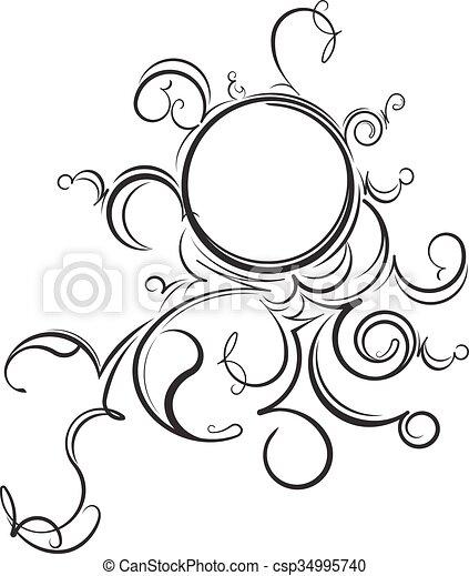 Unusual round vintage floral frame for your design. vector illustration.