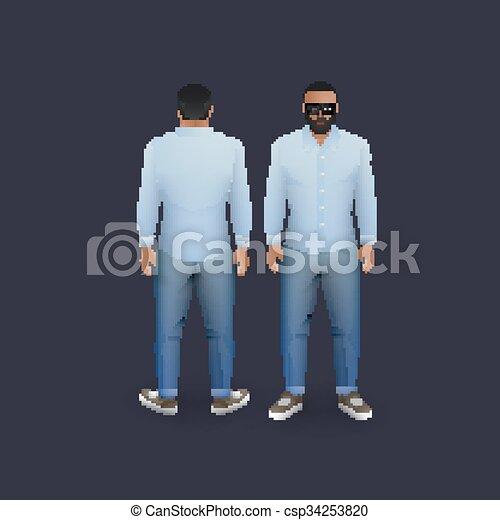 uomini, jeans, camicia - csp34253820