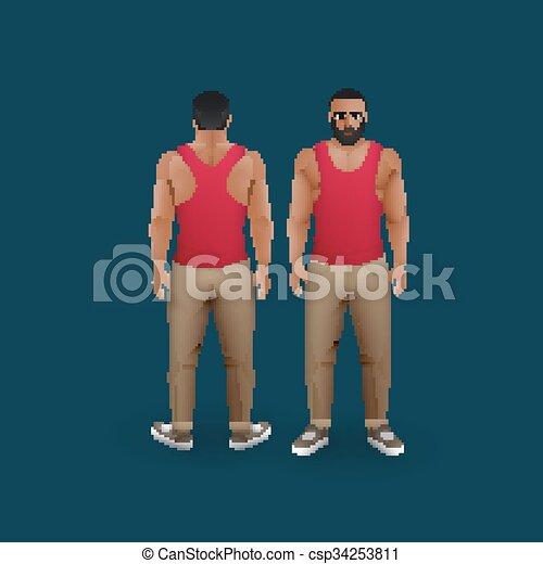uomini, singlet, pantaloni - csp34253811