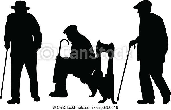 uomini, vecchio, canna - csp6280016