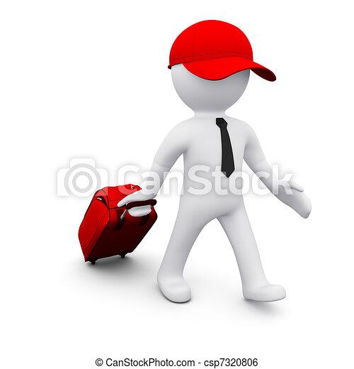uomo, 3d, valigia - csp7320806