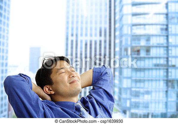uomo affari, asiatico, riposare - csp1639930