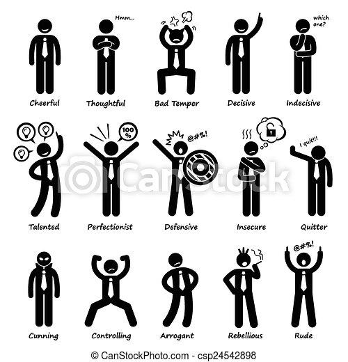 uomo affari, atteggiamento, personalità - csp24542898