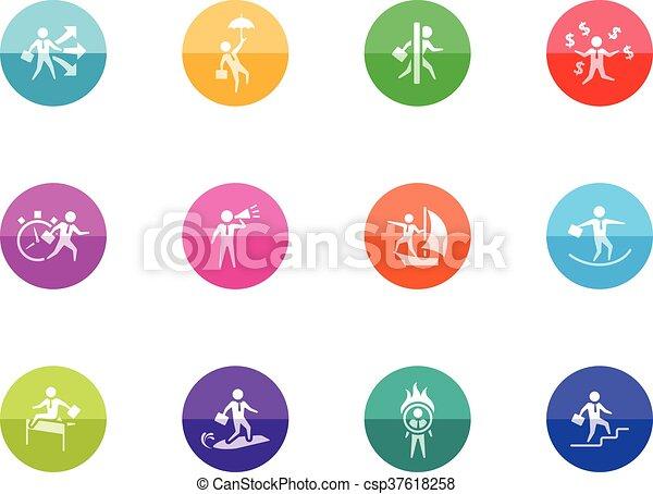 uomo affari, cerchio, -, icone - csp37618258
