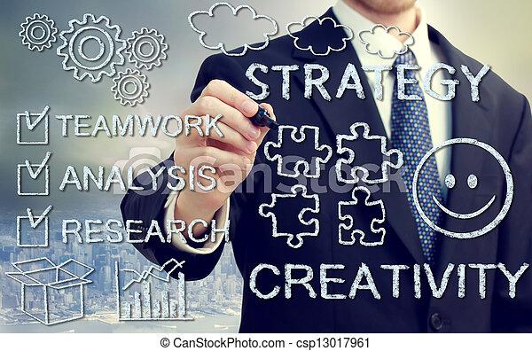uomo affari, concetps, creatività, strategia - csp13017961