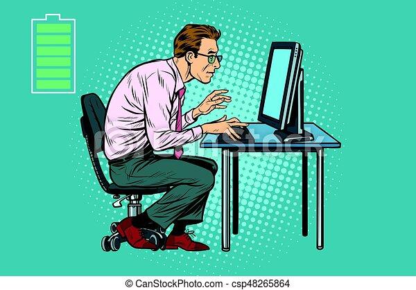Lavoro Ufficio Clipart : Uomo affari energia lavoro computer ufficio lavoro vettore