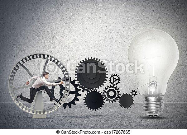 uomo affari, idea, alimentare - csp17267865