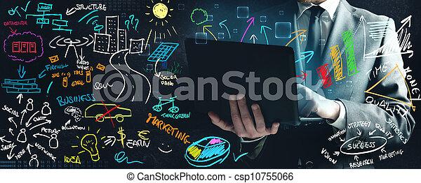 uomo affari, idee, lavorativo, nuovo - csp10755066