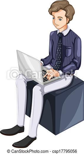 uomo affari, laptop, usando - csp17795056
