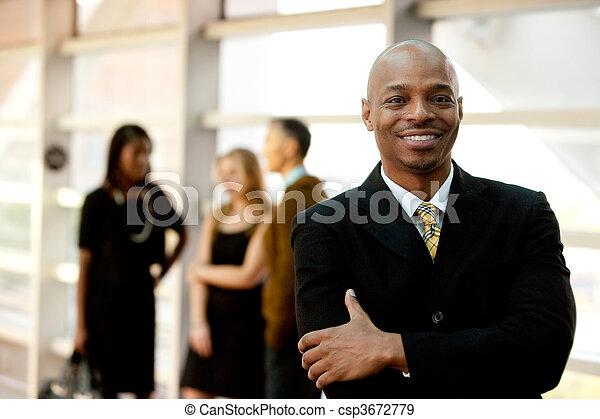 uomo affari, nero, felice - csp3672779