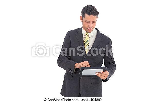 uomo affari, pc tavoletta - csp14404892