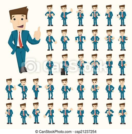 uomo affari, pose, set, caratteri - csp21237254