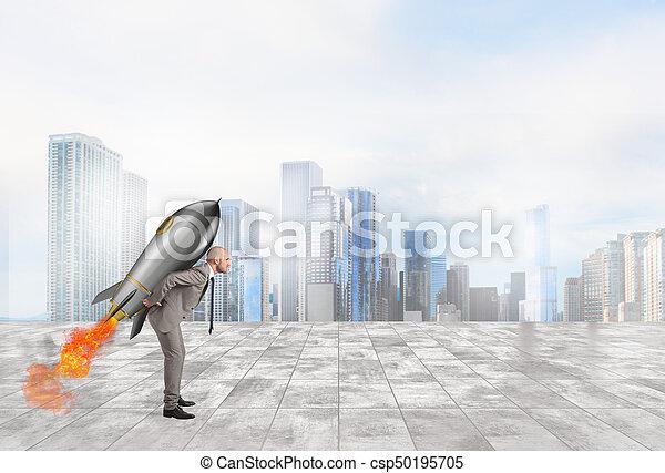 uomo affari, prese, determinazione, potere, razzo - csp50195705